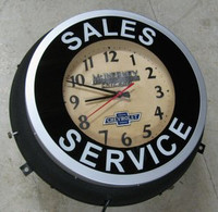 OLD NEON CHEVROLET DEALER CLOCK