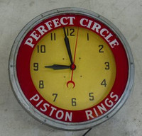 PERFECT CIRCLE PISTON RINGS NEON CLOCK
