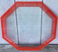 NPI RED OCTAGON NEON CLOCK GLASS