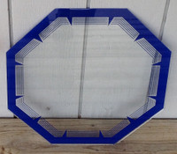 NPI BLUE OCTAGON NEON CLOCK GLASS