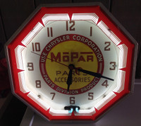 MOPAR PARTS NEON ADVERTISING CLOCK
