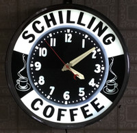 VINTAGE GLO-DIAL NEON ADVERTISING COFFEE CLOCK