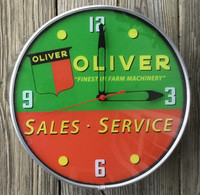 "LACKNER 15"" OLIVER TRACTOR LIGHTED ADVERTISING CLOCK"