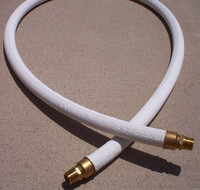 "LARGE OD WHITE CLOTH GAS PUMP HOSE 1"" BRASS ENDS"