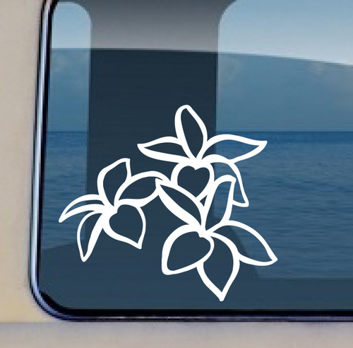BUY NOW THIS PLUMERIA DECAL MAKES AN EXCITING STATEMENT ON YOUR CAR! Plumeria Trio Outline © Aloha Maui Creations