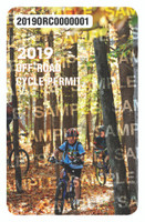 2019 Off-Road Cycling Permit. Valid January 1, 2019-December 31, 2019.