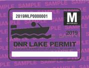 2019 Motorized Lake Permit. Valid January 1, 2019-December 31, 2019.