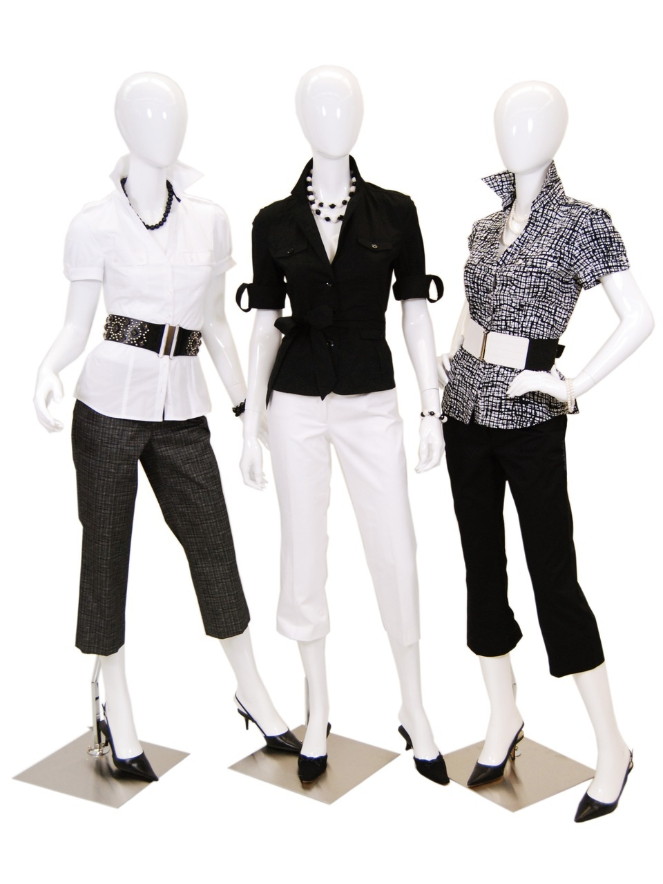 3 Gloss White Abstract Egg Head Mannequins