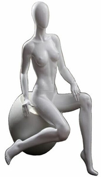 Gloss White Abstract Seated Egg Head Female Mannequin MM-5EG with stool