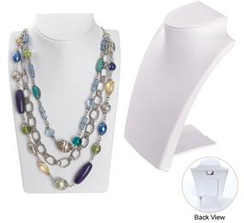 White Leatherette Necklace Display Bust MM-ND-8WH