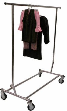 Collapsible Single Rail Salesman Rolling Rack - Chrome MM-RK-RCS1