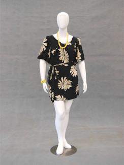 Matte White Abstract Plus Size Egg Head Female Mannequin MM-NANCYW1 wearing black dress
