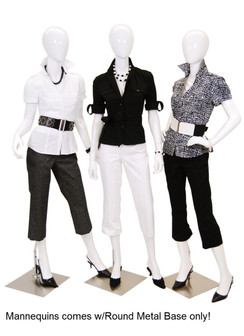 Gloss White Abstract Group of 3 Female Mannequins MM-A2-3-4W1GRP