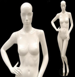 Sage, Gloss White Abstract Female Mannequin with Face Features MM-ANN-A5