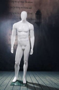 Michael, Gloss White Abstract Egg Head Male Mannequin MM-WEN5EG