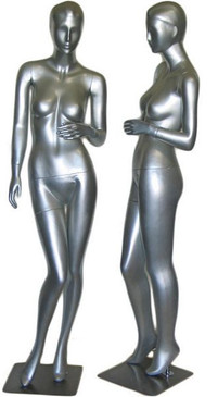 Tia, Silver Abstract Female Mannequin with face features MM-027SIL