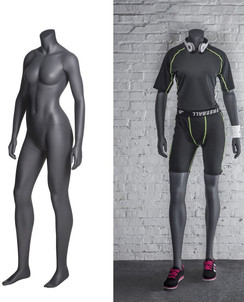 Jade, Fiberglass Headless Athletic Female Mannequin Matte Grey MM-NI-10