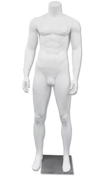 JD 3, High-End Fiberglass Headless Male Mannequin Matte White MM-HM90W