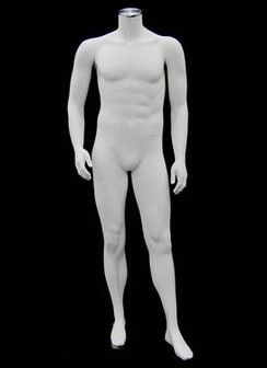 Justin , High-End Fiberglass Headless Male Mannequin Matte White MM-ADMW02