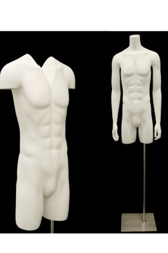 Casper 4, Matte White Male Headless Invisible Ghost Torso with Base MM-TMW-IVG