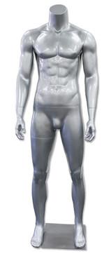 Jay 3, High-End Fiberglass Headless Male Mannequin Glossy Silver MM-HM90GS