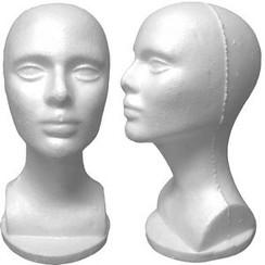 4 White Female Styrofoam Mannequin Head Bust MM-434
