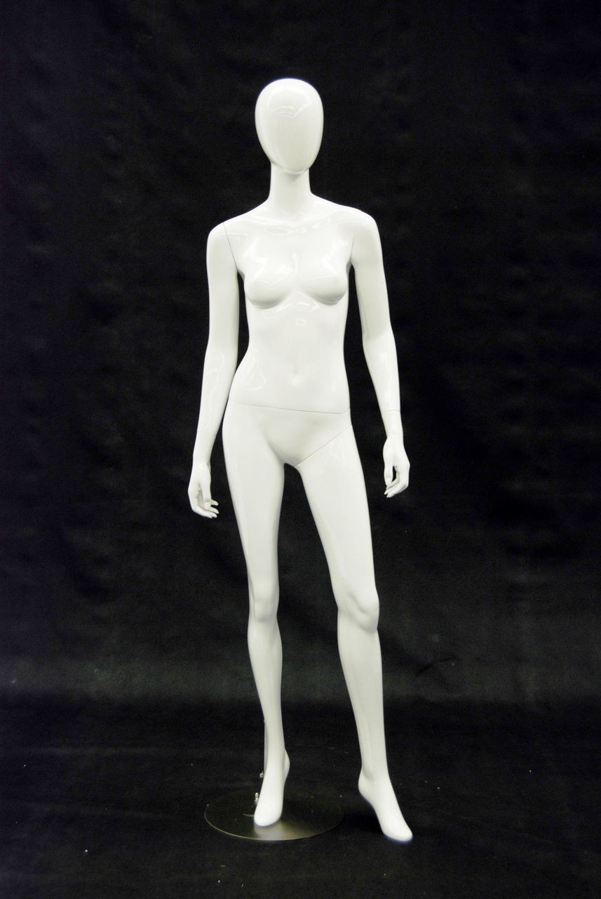 Showroom Sample Gloss White Abstract Egg Head Female Mannequin