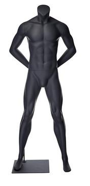 Alex 1, Matte Grey Fiberglass Athletic Headless Male Mannequin MM-NI-01SP
