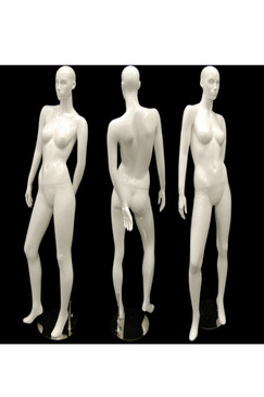 Susan, Gloss White Abstract Female Mannequin with face features MM-ANN-A4