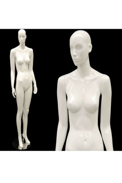 Sally, Gloss White Abstract Female Mannequin with face features MM-ANN-A2