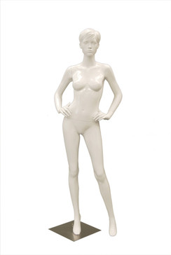 Abby 3, Gloss White Abstract Female Mannequin with face features and Molded Hair MM-ABBY3