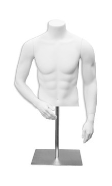 Matte White Male Headless Torso with Counter Top Base MM-MET9W