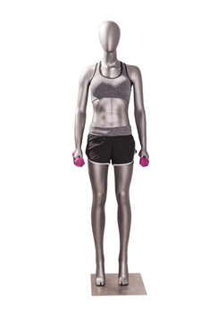 Erin 1, Matte Grey Athletic Female Sports Mannequin MM-JSW01