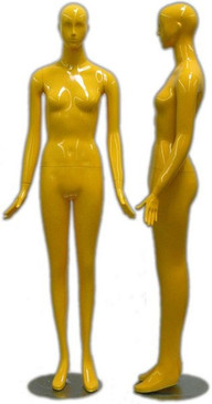 Gloss Yellow Abstract Female Mannequin with face features MM-165YEL