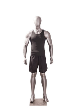 Athletic Matte Grey Egghead Male Mannequin MM-JSM-1