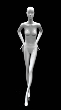 Glossy White Abstract Female Mannequin with Face Features MM-BESS-01