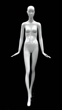 Glossy White Abstract Female Mannequin with Face Features MM-BESS-02