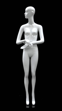 Glossy White Abstract Female Mannequin with Face Features MM-BESS-07