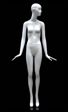 Glossy White Abstract Female Mannequin with Face Features MM-BESS-10