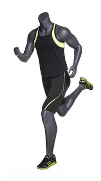Alex 3, Matte Grey Fiberglass Athletic Headless Male Mannequin MM-NI-04SP