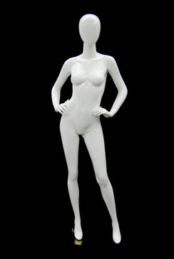 Used/Damaged Gloss White Abstract Egg Head Female Mannequin MM-A4W1USED