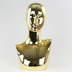 Plastic Chrome Gold Female Abstract Mannequin Display Head MM-441CG