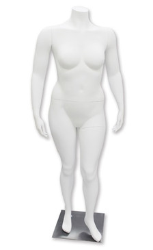 Gigi, Fiberglass Matte White Headless Plus Size Female Mannequin MM-HFOS18W