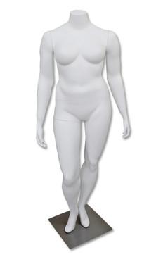 Bella, Fiberglass Matte White Headless Plus Size Female Mannequin MM-HFOS20W