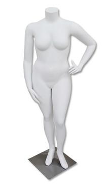 Gracie, Fiberglass Matte White Headless Plus Size Female Mannequin MM-HFOS24W