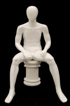 Rick, Gloss White Abstract Seated Egg Head Male Mannequin MM-KW15DS-GW