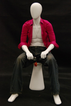 Roger, Matte White Abstract Seated Egg Head Male Mannequin with Stool MM-KW15D-MW