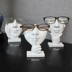 White Polyresin Unisex Eyeglasses Display Heads