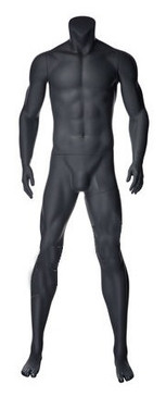 Used Matte Grey Fiberglass Headless Male Mannequin MM-NI-02SP