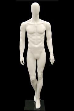 Used Matte White Fiberglass Egg Head Male Mannequin USED-MIK07WEG